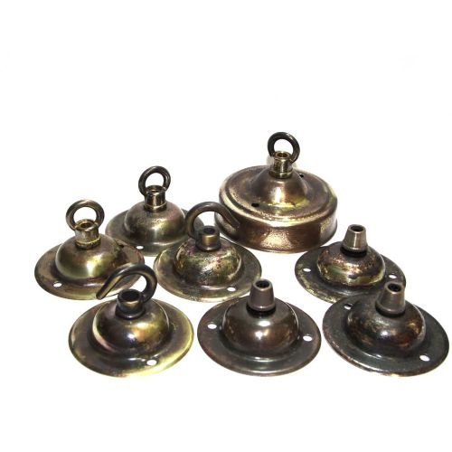 Job Lot of 8 Industrial Antique Finish Small Ceiling Roses Solid Brass